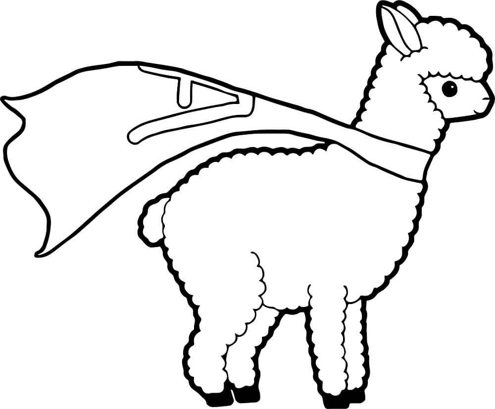 Baby Alpaca Coloring Pages